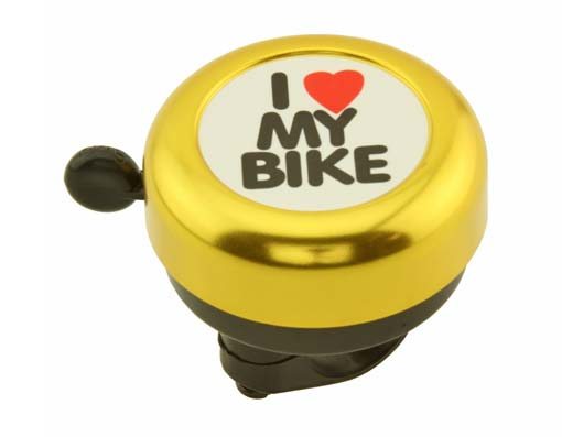 I Love My  bike Bell Gold