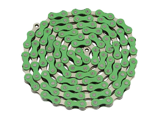 YBN bicycle Chain 1/2x1/8x112 Green/Chrome.