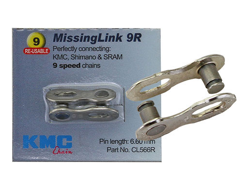 Bike KMC Chain MissingLink Con 9/Speed 6.6mm Pin Silver. 123953