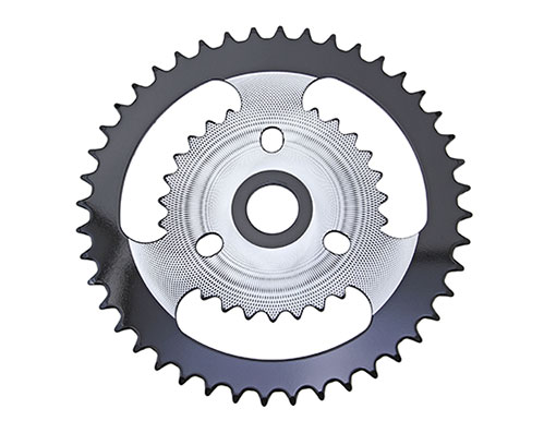 Bike Steel Sprocket ZT9A 1/2 X 1/8 44t Chrome/Black. 137707