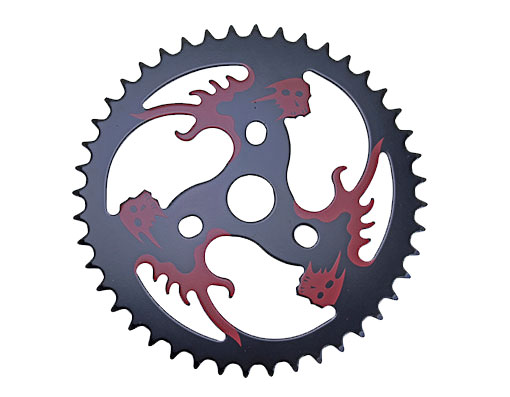 Bike Steel Sprocket Red/Skull 1/2 X 1/8 44t Black. 137814