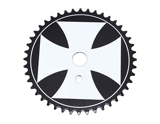 Bike Iron Cross Steel Sprocket 1/2 X 1/8 44t Black/White. 137844