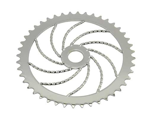 Bike Steel Sprocket Twisted 44T Chrome. 137890