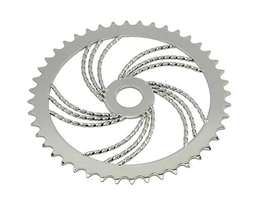 Bike Steel Sprocket Triple Twisted 44T Chrome. 137894