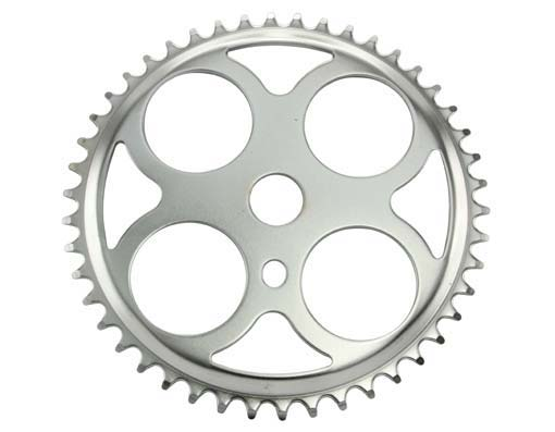 Sprocket W/4 Circles 46t 1/2 X 3/32 Chrome.