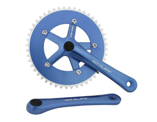 Bicycle Alloy Chainwheel Set 48T x 170mm Blue.
