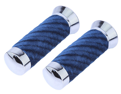 Bike Custom Swirl Velour Grips Blue. 165002