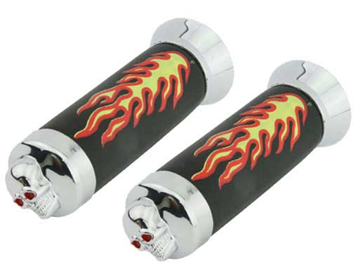 Bicycle Grips W/Flames Black/Chrome Skull.
