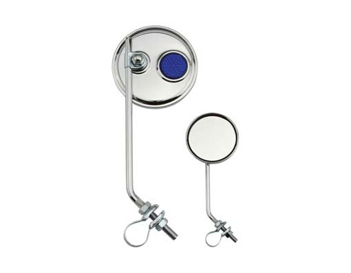 Round Mirror Bicycle Chrome Blue Reflectors.