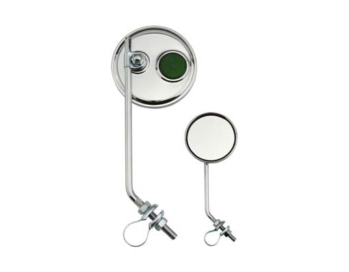Round Mirror Bicycle Chrome Green Reflectors.