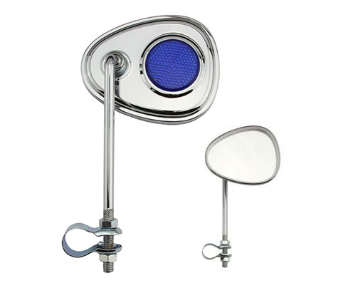 V Mirror Bicycle Chrome Blue Reflectors.