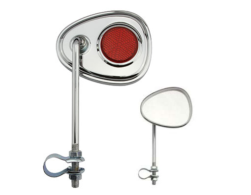 V Mirror Bicycle Chrome Red Reflectors.