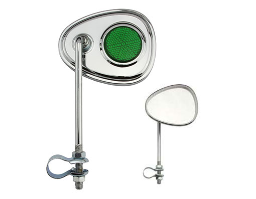 V Mirror Bicycle Chrome Green Reflectors.
