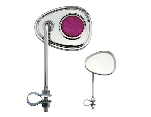 Bike V Mirror Chrome Purple Reflectors. 191356