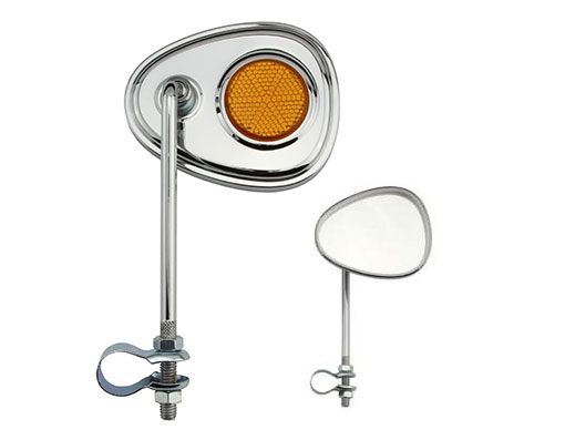Bike V Mirror Chrome Amber Reflectors. 191360