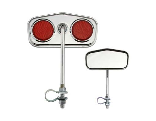 Diamond Mirror Bicycle Chrome Red Reflectors.