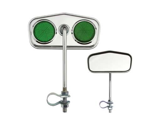 Diamond Mirror Chrome Green Reflectors.