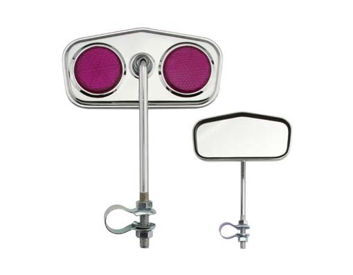 Diamond Mirror  Chrome Purple Reflectors.