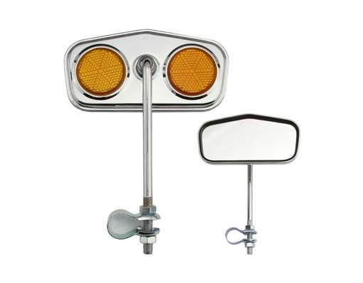 Diamond Mirror  Chrome Amber Reflectors.