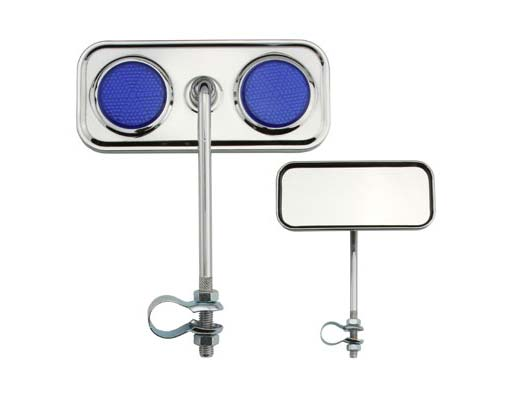 Rectangle Mirror Bicycle Chrome Blue Reflectors.