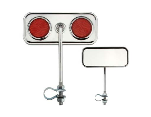 Rectangle Mirror Bicycle Chrome Red Reflectors.