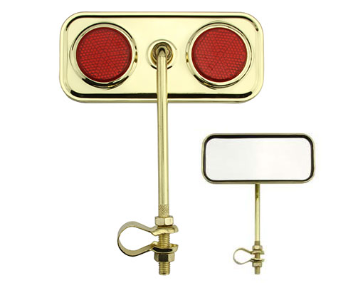 Bike Rectangle Mirror Gold Red Reflectors. 191948