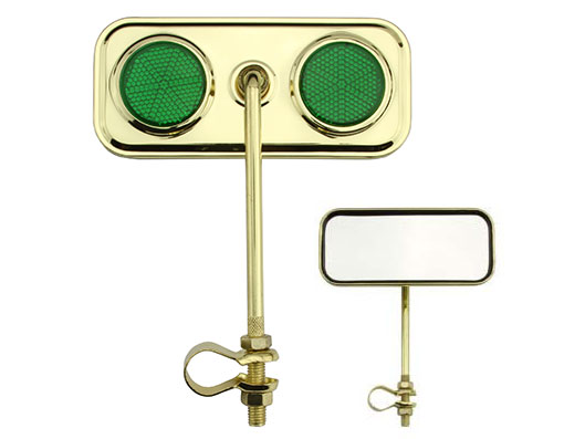 Bike Rectangle Mirror Gold Green Reflectors. 191952