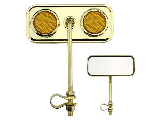 Bike Rectangle Mirror Gold Amber Reflectors. 191960