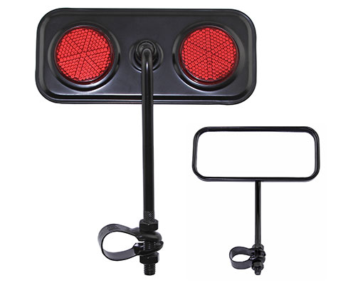 Bike Rectangle Mirror Black Red Reflectors. 191978