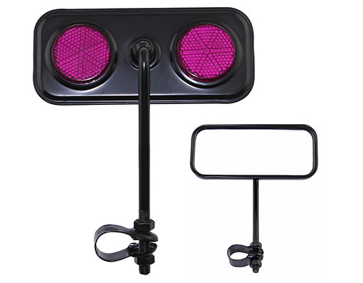 Bike Rectangle Mirror Black Purple Reflectors. 191986