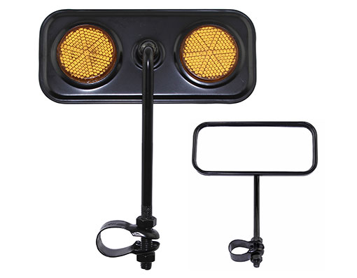 Bike Rectangle Mirror Black Amber Reflectors. 191990