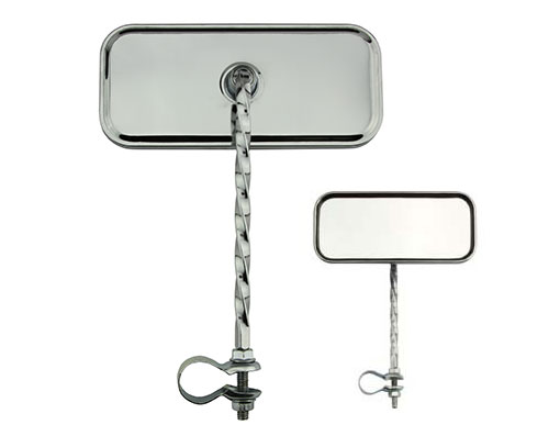 Rectangle Twisted Mirror Bicycle All Chrome.