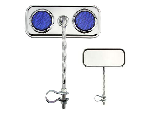 Blue 2 Pcs one Pair Two 2 Bicycle  Rectangle Mirrors With Reflector