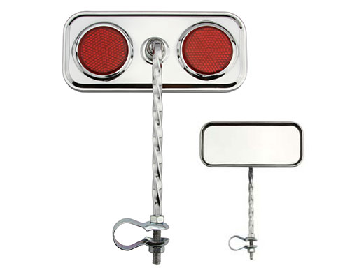 Rectangle Twisted Mirror Chrome Red Reflectors.