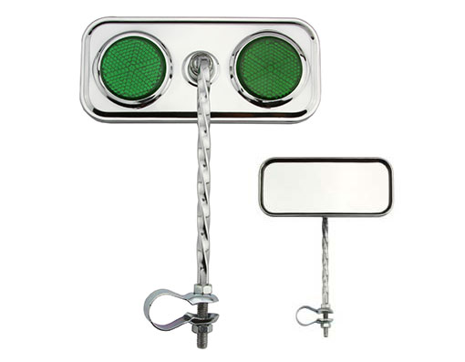 Rectangle Twisted  Chrome Green Reflectors.