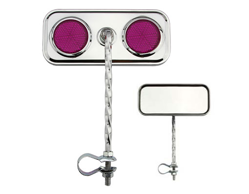 Bike Rectangle Twisted Mirror Chrome Purple Reflectors. 193126