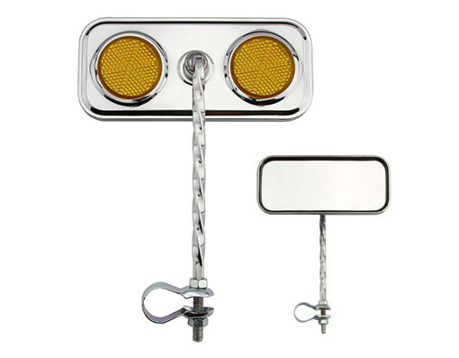 Bike Rectangle Twisted Mirror Chrome Amber Reflectors. 193130