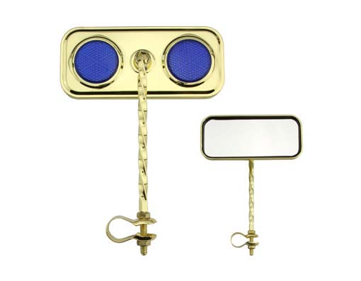 Bike Rectangle Twisted Mirror Gold/Blue Reflectors. 193276