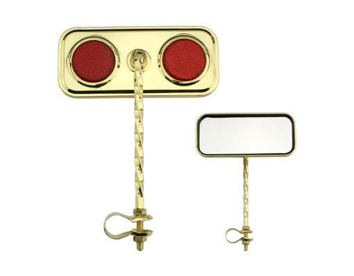 Bike Rectangle Twisted Mirror Gold Red Reflectors. 193278