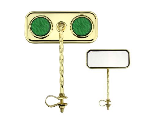 Bike Rectangle Twisted Mirror Gold Green Reflectors. 193282