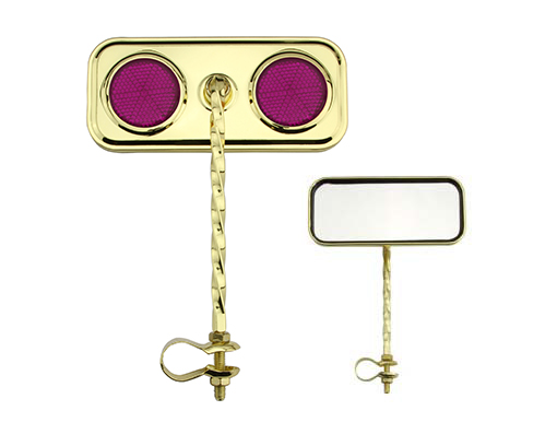 Bike Rectangle Twisted Mirror Gold Purple Reflectors. 193286