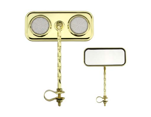 Bike Rectangle Twisted Mirror Gold Clear Reflectors. 193288