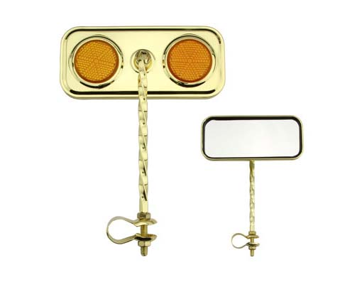Bike Rectangle Twisted Mirror Gold Amber Reflectors. 193290