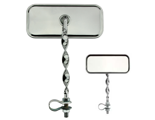 Rectangle Flat Twisted Mirror Bicycle All Chrome.