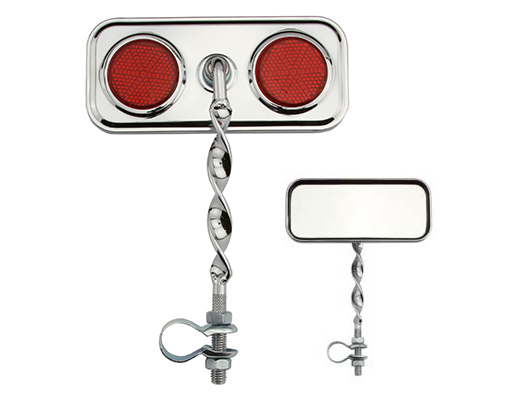 Rectangle Flat Twisted Mirror Red Reflectors.