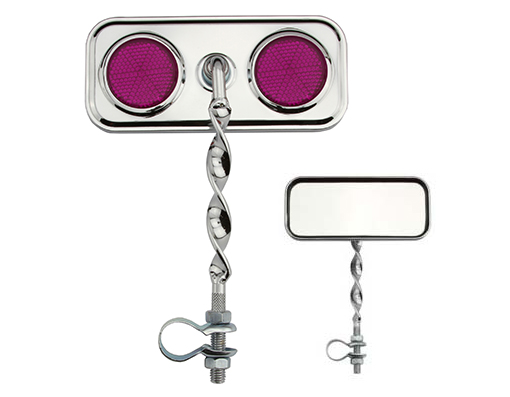 Bike Rectangle Flat Twisted Mirror Purple Reflectors. 193356