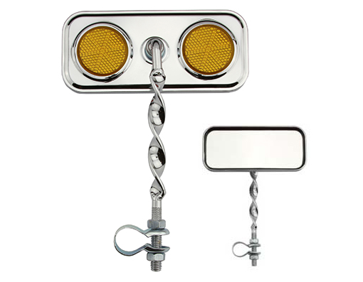 Bike Rectangle Flat Twisted Mirror Amber Reflectors. 193360