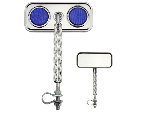 Double Twisted Mirror  Chrome Blue Reflectors.