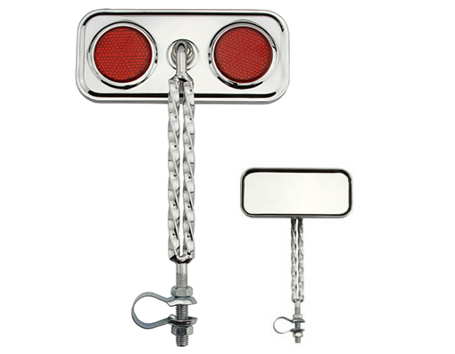 Double Twisted Mirror  Chrome Red Reflectors.