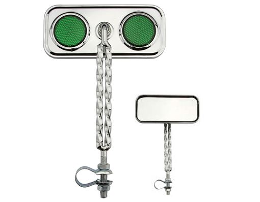 Double Twisted Mirror  Chrome Green Reflectors.